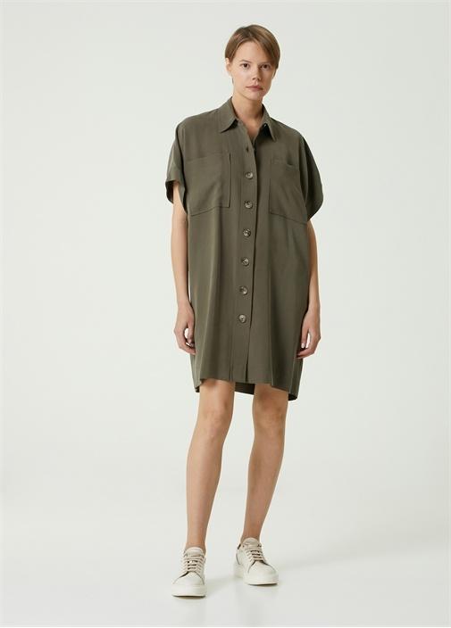 Haki Polo Yaka Dökümlü Mini Gömlek Elbise