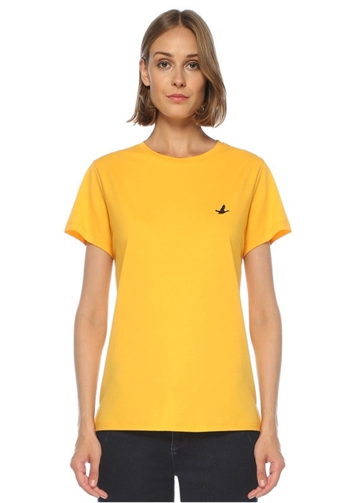 Sarı Bisiklet Yaka Dökümlü T-shirt