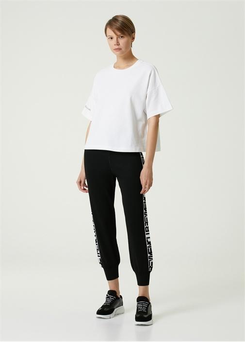 Kırık Beyaz Bisiklet Yaka Bol T-shirt