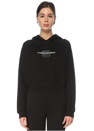 For Fun Kadın Siyah Kapüşonlu Baskılı Kısa Sweatshirt S EU