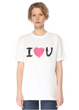 Balenciaga Kadın I Love You Beyaz Bisiklet Yaka T-shirt S EU