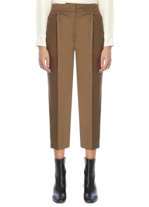 Haki Yüksek Bel Pilili Crop Yün Pantolon