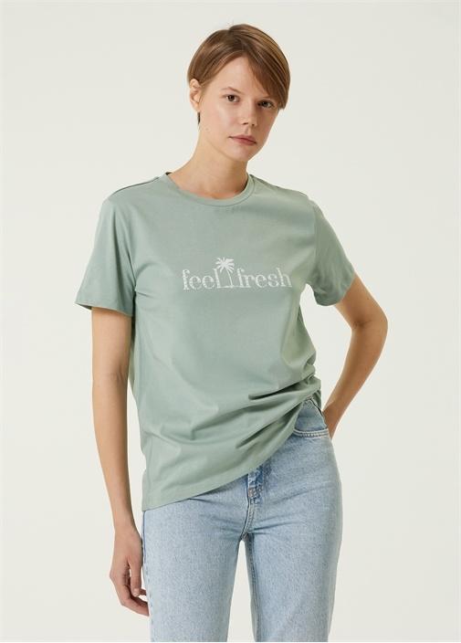 Mint Bisiklet Yaka Baskılı T-shirt