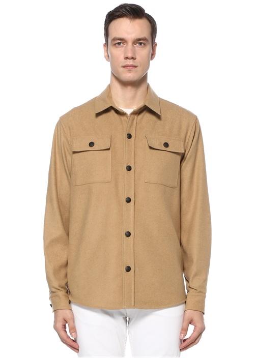 Bej Polo Yaka Kaşe Dış Gömlek