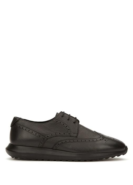 Siyah Sportif Taban Detaylı Erkek Deri Ayakkabı