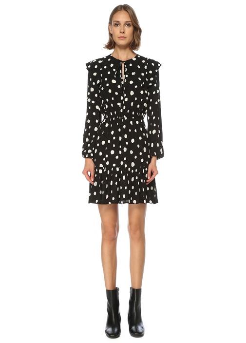 Siyah Yakası Bağlamalı Puanlı Fırfırlı Mini Elbise