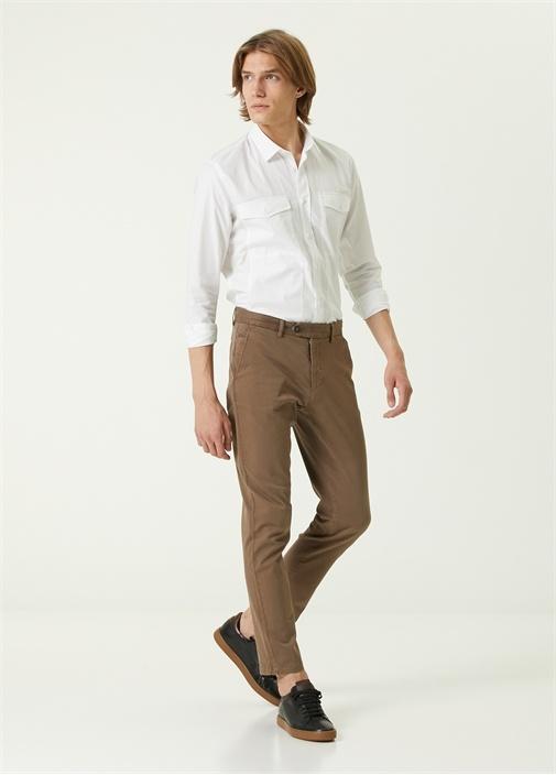 Slim Fit Kahverengi Spor Pantolon