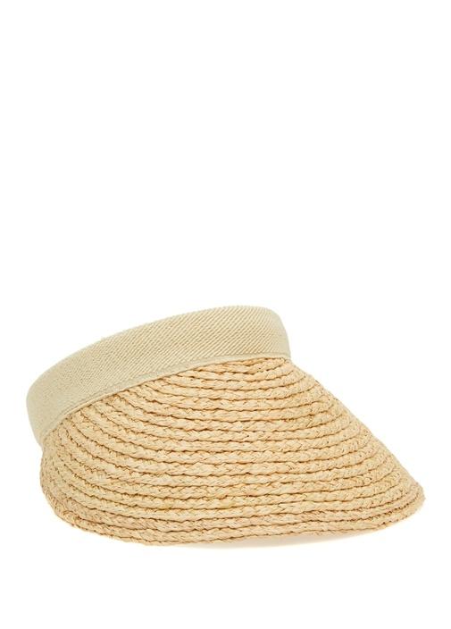 Bej Hasır Dokulu Kadın Vizör Şapka