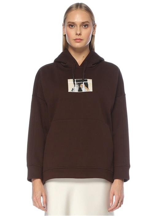 Oversize Kahverengi Kapüşonlu Nakışlı Sweatshirt