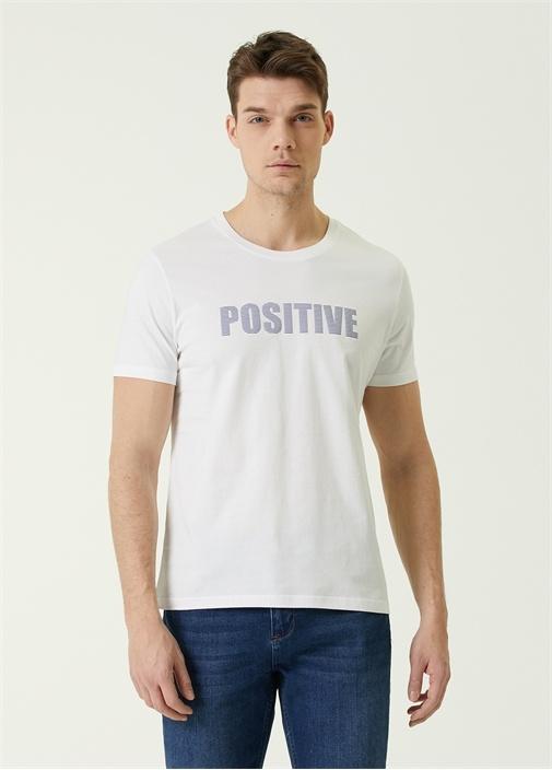 Beyaz Slogan Baskılı T-shirt
