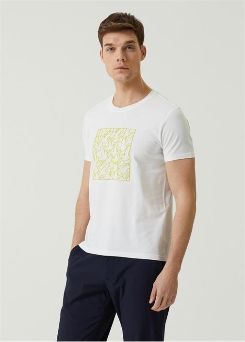Beyaz Sarı Kabartmalı Logo Baskılı T-shirt