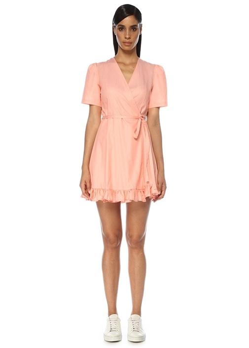 Pembe Etek Ucu Fırfırlı Anvelop Mini Elbise
