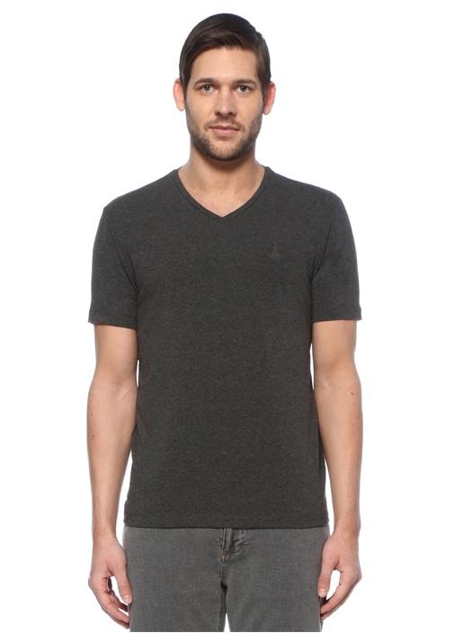 Antrasit Melanj V Yaka Basic T-shirt