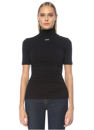 Off-White Kadın Siyah Balıkçı Yaka Kontrast Logolu Bluz 40 EU
