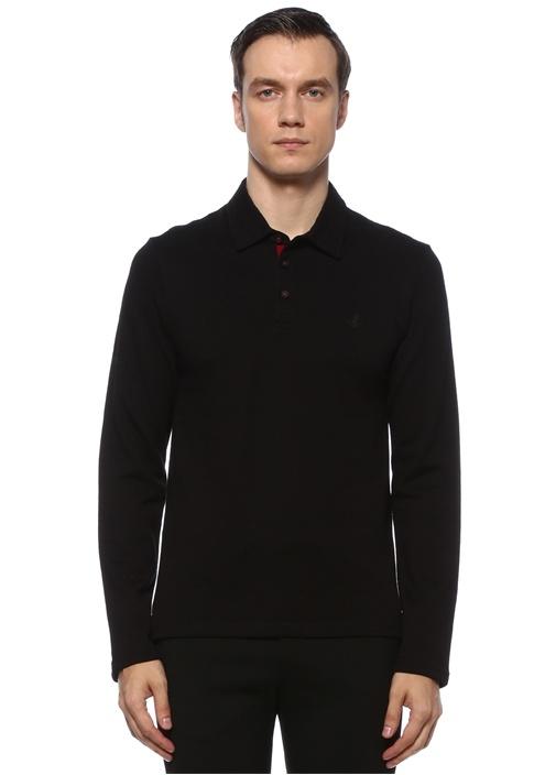 Slim Fit Siyah Logolu Uzun Kollu Polo Yaka T-shirt