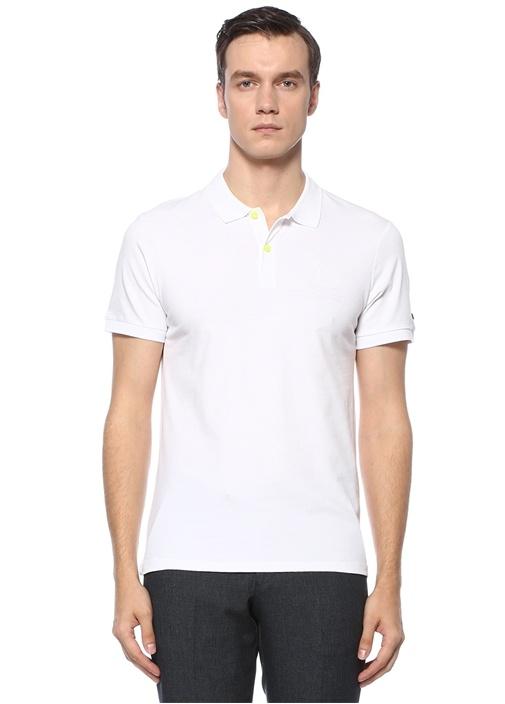 Slim Fit Beyaz Polo Yaka Yelken Baskılı T-shirt