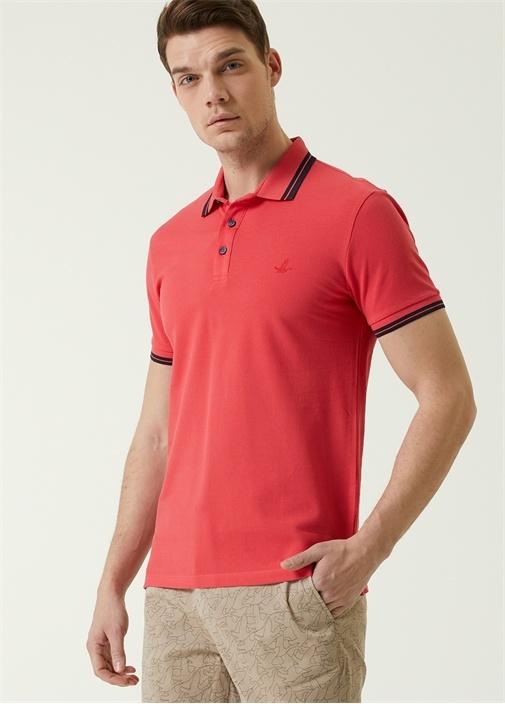 Slim Fit Kırmızı Polo Yaka Şeritli T-shirt