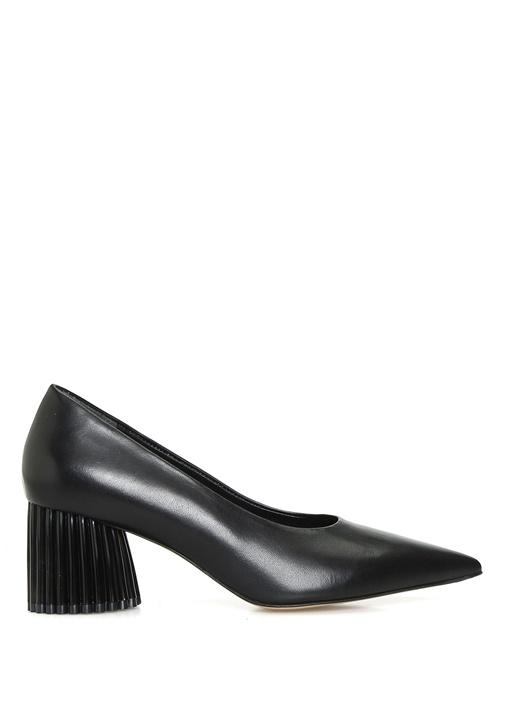 Siyah Topuk Detaylı Deri Topuklu Ayakkabı