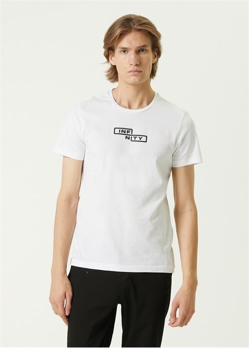 Beyaz Reflektif Slogan Baskılı T-shirt