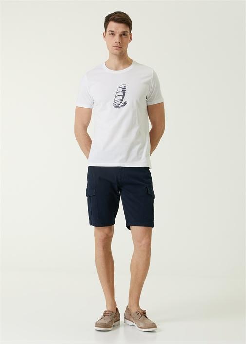 Beyaz Fileli Sörfçü Baskılı Organik Pamuk T-shirt