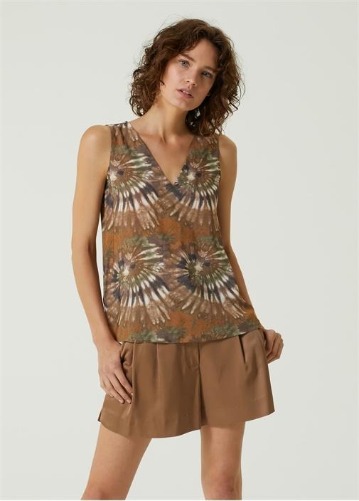 Kahverengi V Yaka Desenli Kolsuz Bluz