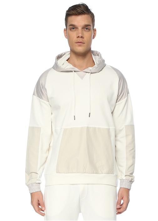 Beyaz Kapüşonlu Blok Garnili Sweatshirt