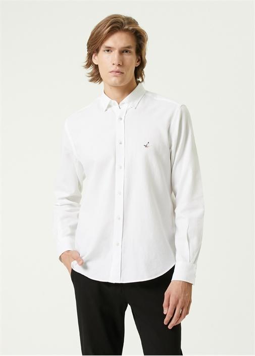 Comfort Fit Beyaz Polo Yaka Gömlek