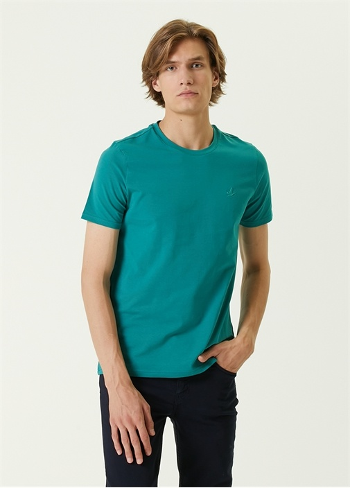 Yeşil Mini Kuş Detaylı Basic T-shirt
