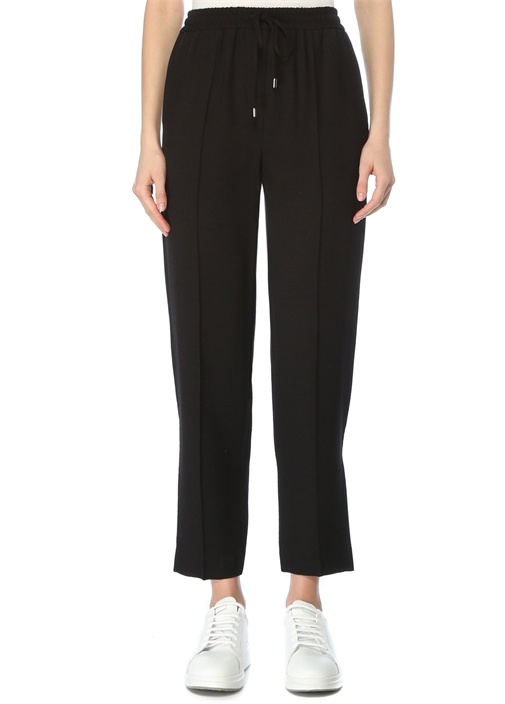 Siyah Beli Kordonlu Nervür Detaylı Pantolon