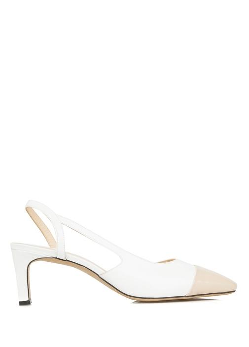 Beyaz Nude Deri Topuklu Ayakkabı