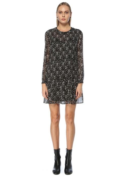 Siyah Çiçekli Pilili Mini Şifon Elbise