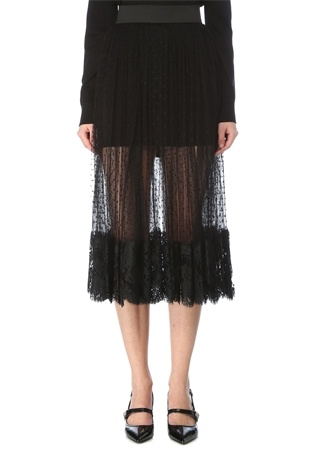 Dolce&Gabbana Kadın Siyah Pilili Dantel Garnili Midi Tül Etek 42 IT