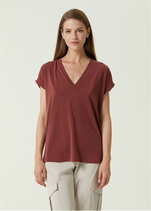 Kahverengi V Yaka T-shirt