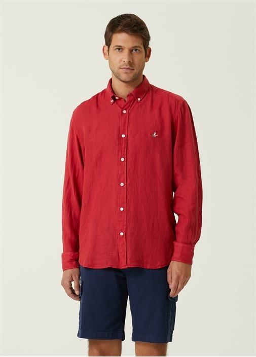 Comfort Fit Kiremit Düğmeli Yaka Keten Gömlek