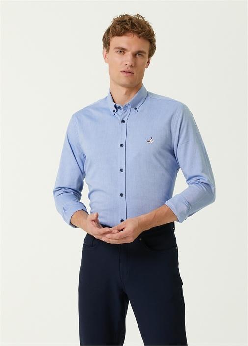 Slim Fit Mavi Oxford Gömlek