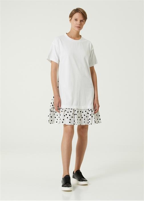 Ekru Etek Ucu Desenli Mini Jersey Elbise