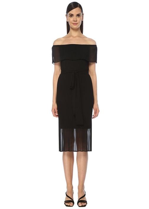 Siyah Straplez Dil Piliseli Midi Elbise