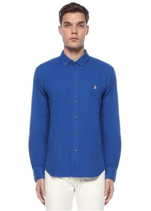 Comfort Fit Mavi Polo Yaka Gömlek