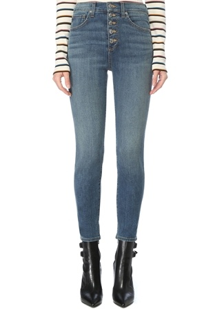 Veronica Beard Kadın Debbie Skinny Fit Lacivert Jean Pantolon 25 US