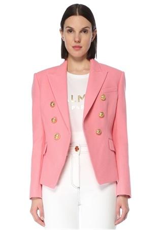 Balmain Kadın Pembe Kırlangıç Yaka Ceket 36 FR