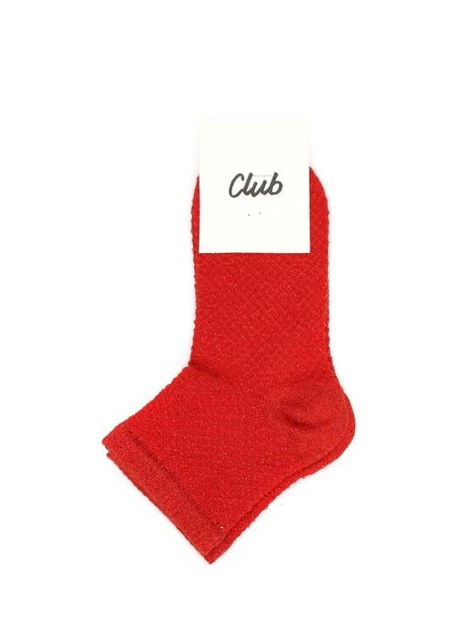 Kırmızı Kabartmalı Sim Dokulu Kadın Çorap
