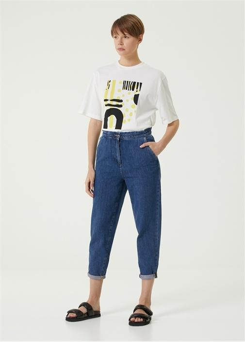 Baggy Fit Mavi Havuç Formlu Jean Pantolon