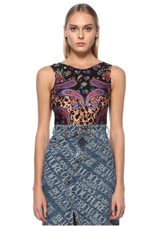Versace Jeans Couture Kadın Siyah Desenli Sırt Dekolteli Kolsuz Body 38 IT
