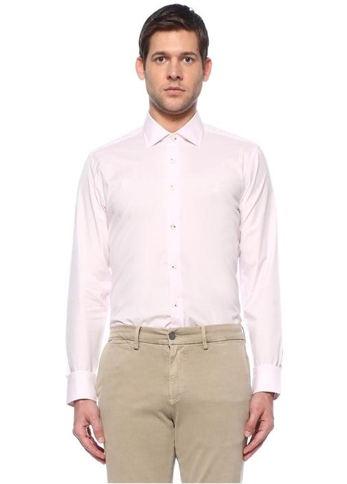 Slim Fit Pembe Modern Yaka Gömlek