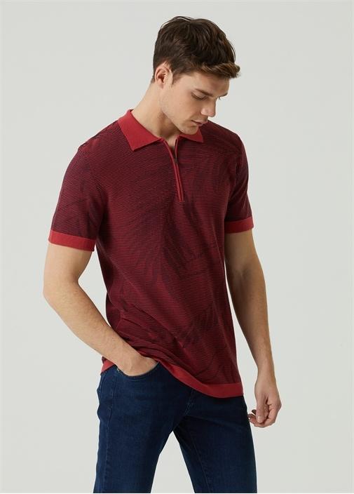 Bordo Polo Yaka Yaprak Desenli T-shirt