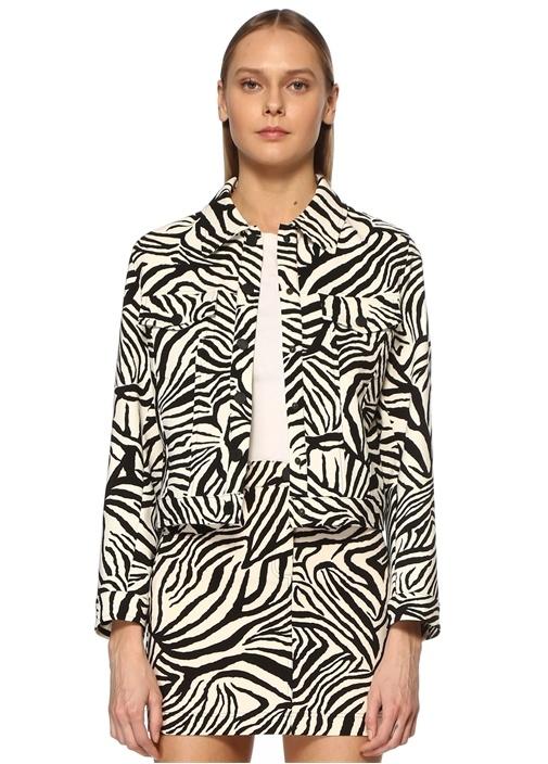 Siyah Beyaz Zebra Desenli Ceket
