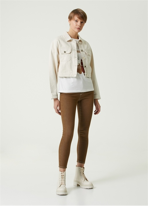 Kahverengi Dikişli Skinny Jean Pantolon