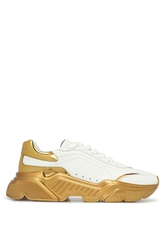 Dolce&Gabbana Kadın Daymasster Beyaz Gold Logolu Deri Sneaker 36 EU