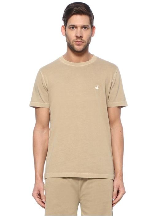 Bej Kuş Logolu T-shirt