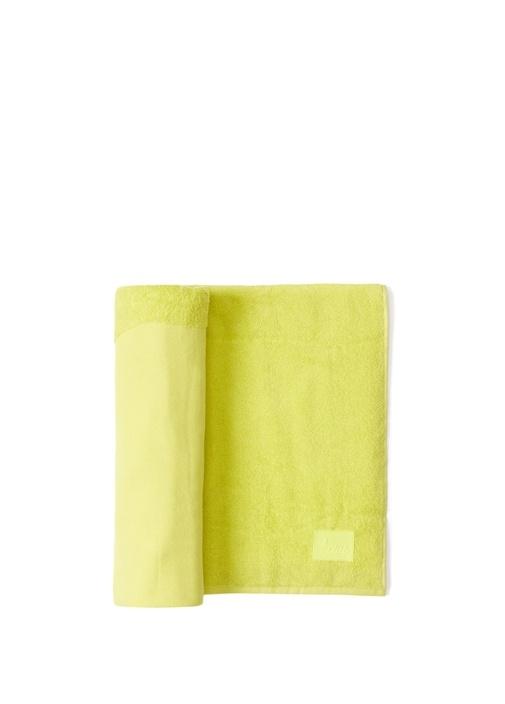 Neon Sarı Kuş Jakarlı Unisex Plaj Havlusu